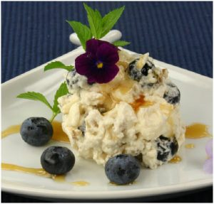 """Blueberry and Maple Cream Meringue Timbales make a """"chic"""" yet simple dessert. (Photo: Larry Dickenson)"""