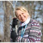 1,500 people from 25 countries participated in the 2021 Virtual Gatineau Loppet ski marathon. Inara Eihenbauma completed the 50-kilometre cross-country ski event in classic form. Here, she stands with her skis in Gatineau Park. (Photo: Ülle Baum)