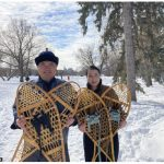 Mongolian Ambassador Ariunbold Yadmaa and his wife, Enkhtuya Ayurzana, joined other diplomatic families in winter sports activities and learned snowshoeing. Here they hold traditional Canadian snowshoes in New Edinburgh Park before heading out for a workout on the banks of the Ottawa River. (Photo: Ülle Baum)