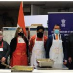 On India's 72nd Republic Day, members of the high commission joined forces with Thali and Coconut Lagoon chef Joe Thottungal and Sylvain de Margerie, of Food for Thought, in the kitchens of the Château Laurier to prepare free hot meals for residents in Ottawa shelters. From left, Marie Thérèze Wang, Food for Thought financial officer; Kathleen Brault, Food for Thought inventory manager; Anupama Potdar, Food for Thought operations manager; Liz Smith, publicity co-ordinator; Deirdre Freiheit, president and CEO of Shepherds of Good Hope; Chef Joe Thottungal, Indian High Commissioner Ajay Bisaria, Sylvain de Margerie, Food for Thought founder and president; Sunil Kumar Sharma, second secretary at the Indian High Commission; and Prabhat Jain, first secretary. (Photo: Christo Raju)