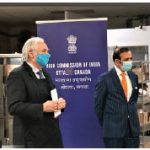 At the same event, from left, Sylvain de Margerie and Indian High Commissioner Ajay Bisaria. (Photo: Christo Raju)