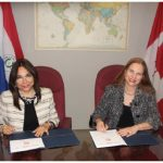 A public diplomacy conference took place at the Embassy of Paraguay and a memorandum of understanding between the embassy and the Canadian chapter of the International Public Diplomacy Council was signed. From left: Valinott and De Lara. (Photo: Ülle Baum)
