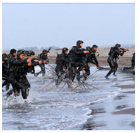 Navy members of the IRGC commandos take part in exercises in the Persian Gulf's Strait of Hormuz. (Photo: Sayyed shahab-o- din vajedi