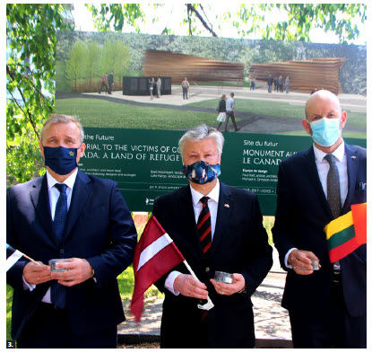 To commemorate the 80th anniversary of the June deportations from the Baltic countries in 1941, the ambassadors of Estonia, Latvia and Lithuania stand at the Garden of the Provinces and Territories, where a memorial to the victims of communism is being built. From left: Estonian Ambassador Toomas Lukk, Latvian Ambassador Karlis Eihenbaums and Lithuanian Ambassador Darius Skusevicius. (Photo: Ülle Baum)