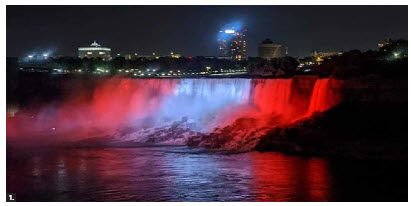 To mark Georgia's national day, Niagara Falls was lit up in the country's national colours. (Photo: Embassy of Georgia)