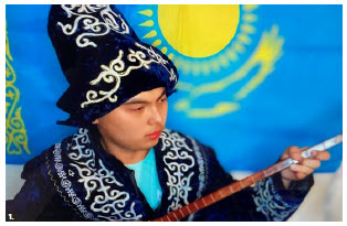 To mark the 175th birthday of Kazakh folk musician Zhambyl Zhabaiuly, the Embassy of Kazakhstan organized an online musical event. The musician pictured was a participant. (Photo: Ulle Baum)