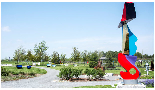 The Oeno Gallery culpture Garden, pictured here, is located on the Huff Estates Winery's property in Bloomfield. It's a changing display of 60 steel, granite and bronze sculptures, all of which are for sale. (Photo: zachary shunock, courtesy of oeno gallery)